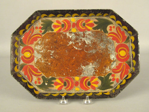 Pennsylvania tole tray, 19th c., with floral