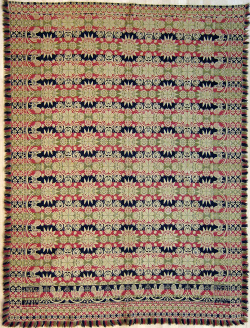 Pennsylvania jacquard coverlet, inscribed