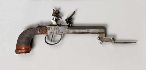 Price guide for Belgian flintlock pistol, with carved and