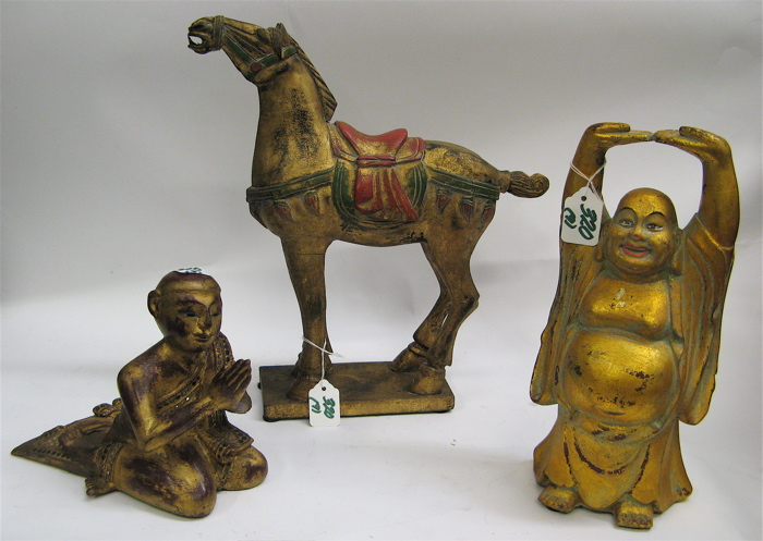 NINE CHINESE CARVED WOODEN FIGURES, ANIMALS,