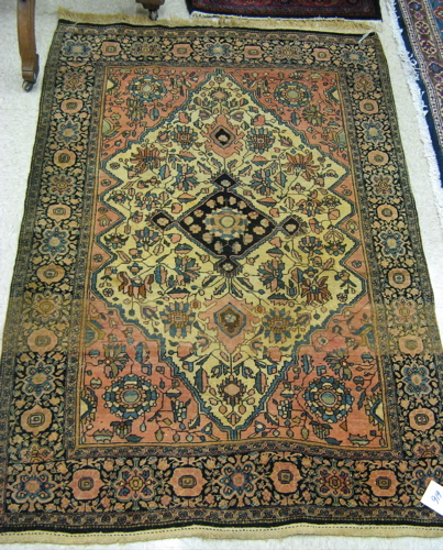SEMI-ANTIQUE PERSIAN FARAHAN AREA RUG, hand