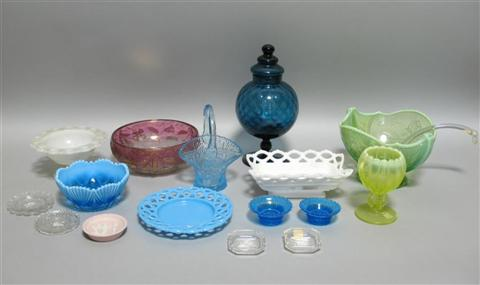 COLLECTION OF COLORED GLASS ITEMS Including