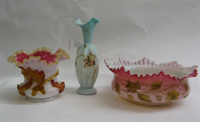 THREE VICTORIAN ART GLASS PIECES: a hand