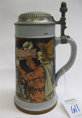 METTLACH GERMAN BEER STEIN, one liter, no.