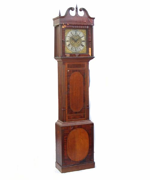 An English oak and mahogany tall case clock