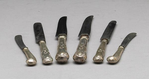 An assembled set of Victorian knives with