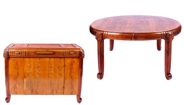 A French Art Deco burled walnut dining room