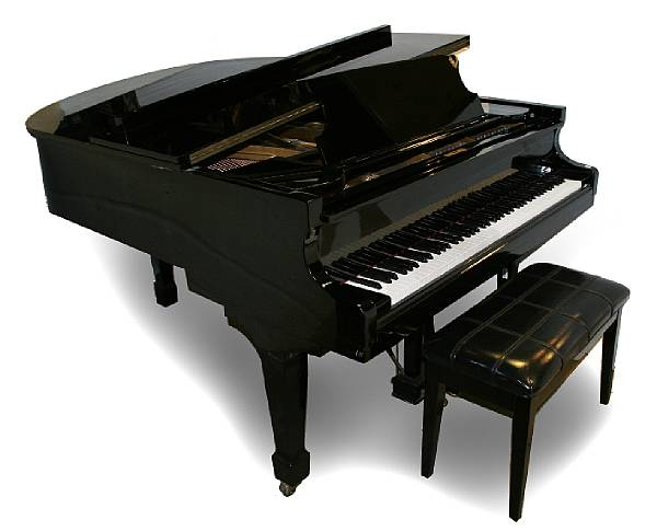 A Schafer and Sons black lacquer grand piano