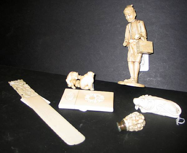 A group of Chinese and Japanese ivory, bone