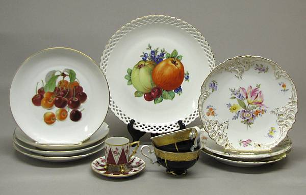 An assembled group of German porcelain tableware