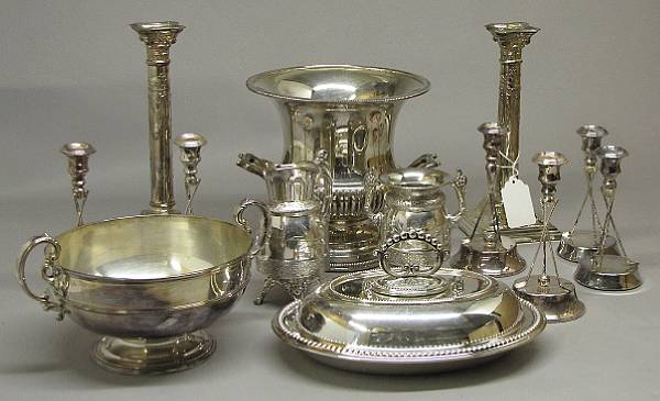 A quantity of silver plated table articles