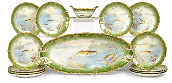 A Limoges porcelain fish service late 19th/early