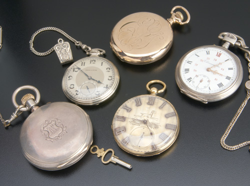 Five pocket watches: Arnold Adams & Co. detached-lever,