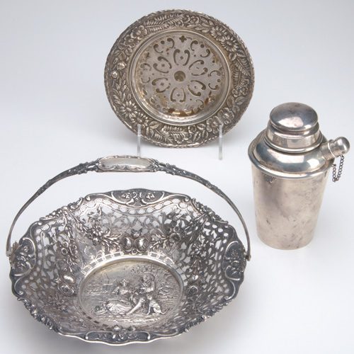 Three pieces of American or European silver: