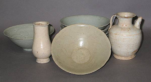 A group of qingbai-type glazed porcelains