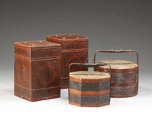 Four fine bamboo containers and baskets