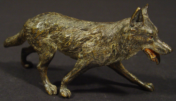 19th Century cold painted bronze fox, 13cm