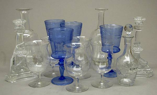 An assembled grouping of ceramics and glassware