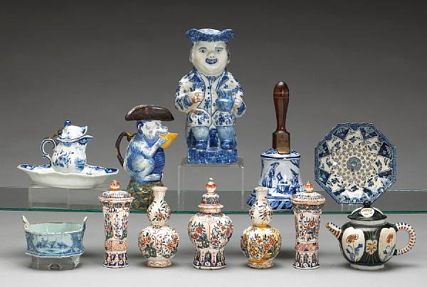 An assembled grouping of Dutch blue and white