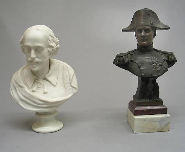 A French patinated metal bust of Napoleon