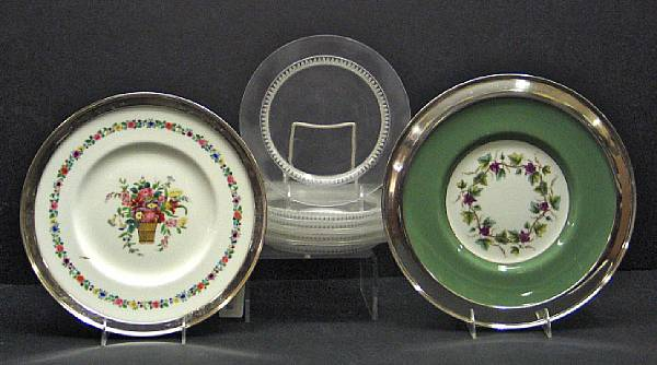 A set of nine Lalique glass plates and two