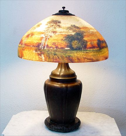 HANDEL REVERSE PAINTED LAMP WITH LANDSCAPE
