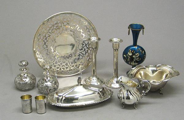 A group of assorted silver and plated items,
