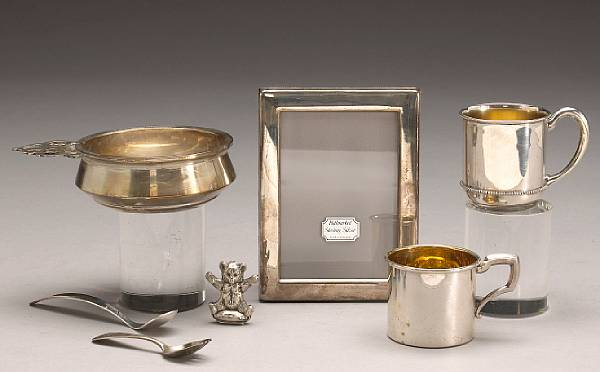 A group of sterling items for baby and child