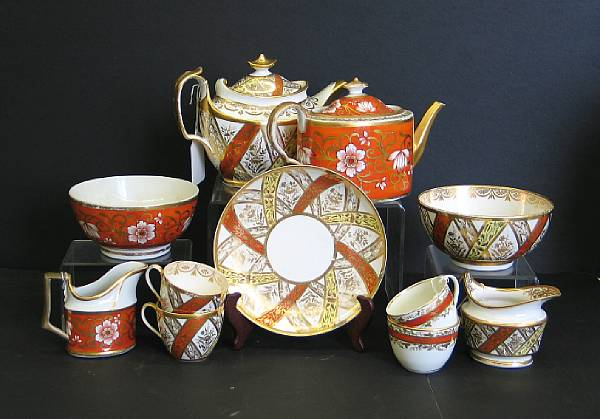 A group of three English porcelain part tea