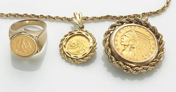 Price guide for A collection of gold coin and 14k gold jewelry