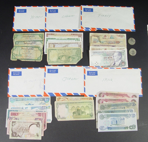Collection of Middle Eastern bank notes and