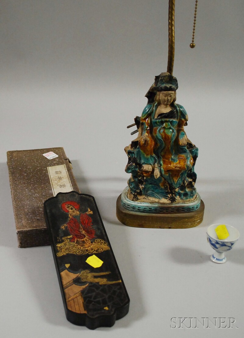 Chinese Glazed Ceramic Deity Figure/Table