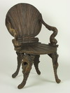 GROTTO CHAIR - 19th C carved wood, shell