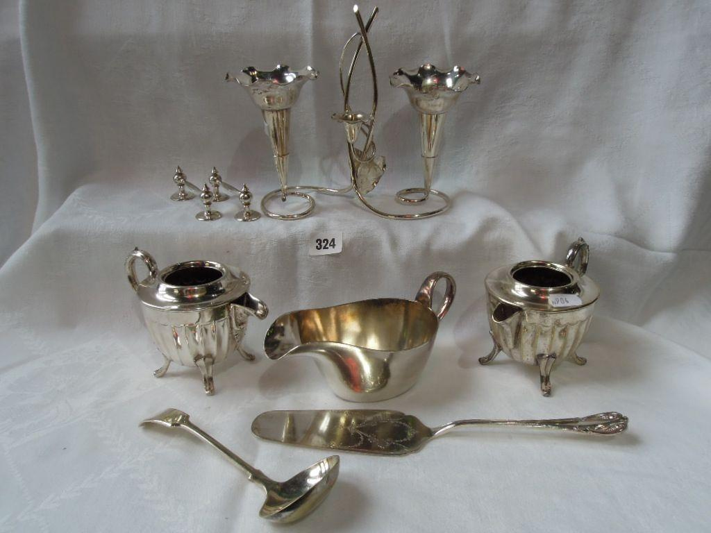 A quantity of silver plate including a pair