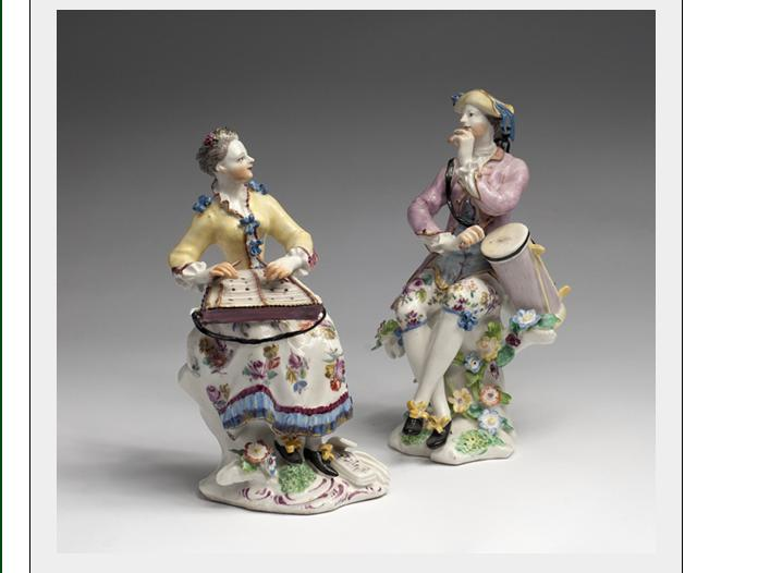 PAIR OF BOW PORCELAIN FIGURES OF SEATED MUSICIANS,