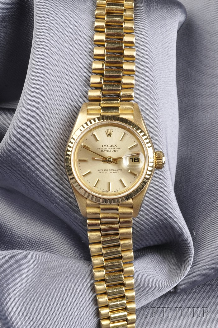 "Lady's 18kt Gold Wristwatch, Rolex, ""Oyster"