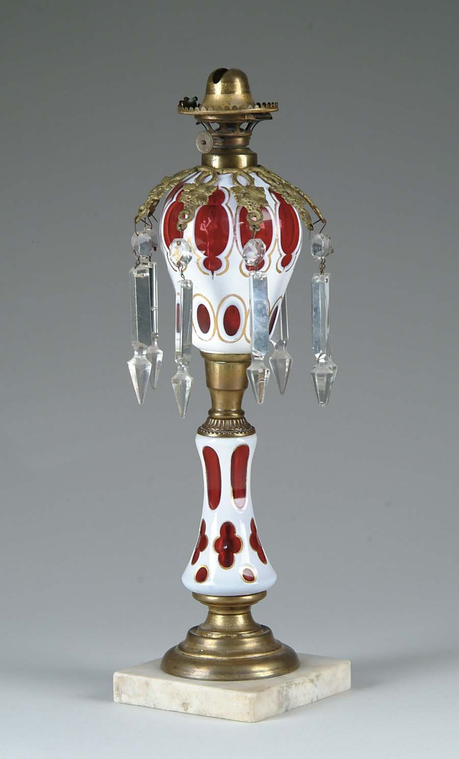 CUT OVERLAY OIL LAMP. Outstanding early lamp