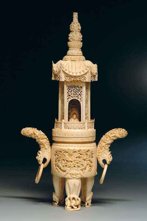 TALL CHINESE IVORY CENSER Tall and elaborately