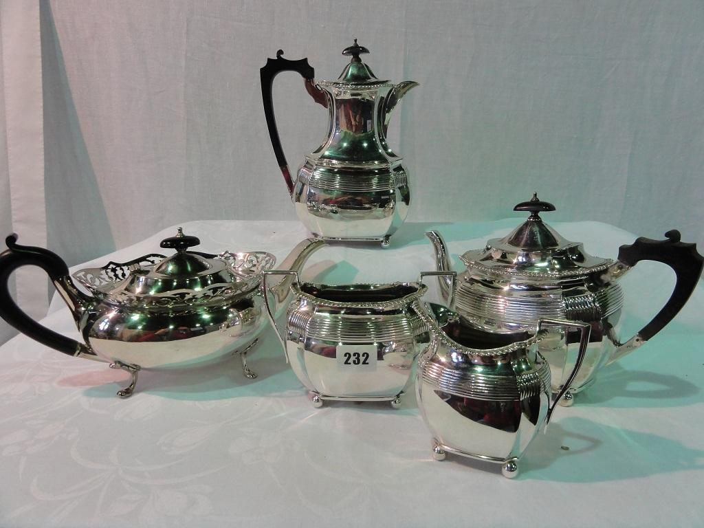 A Four Piece Elkington Silver Plate Tea And Coffee Service With Reeded Border Decoration Comprising Pot Teapot Milk Jug Sugar Bowl Together