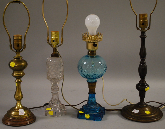 Two Glass Oil Lamps and Two Brass Table Lamps,