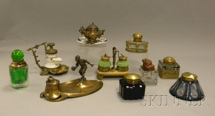 Ten Assorted Inkwells and Inkstands, seven