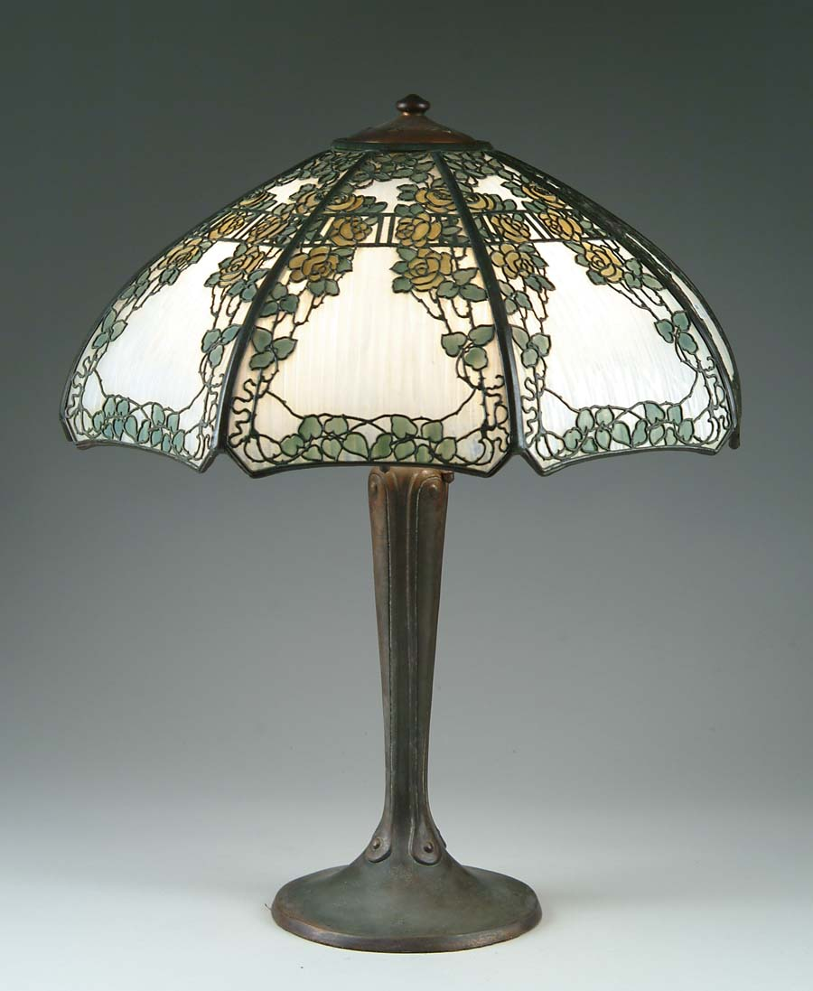 HANDEL METAL OVERLAY TABLE LAMP. Handel overlay