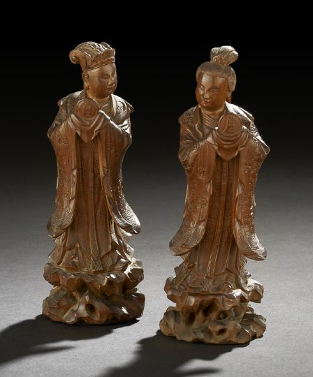 Two Chinese Carved Wooden Statues of Deities,