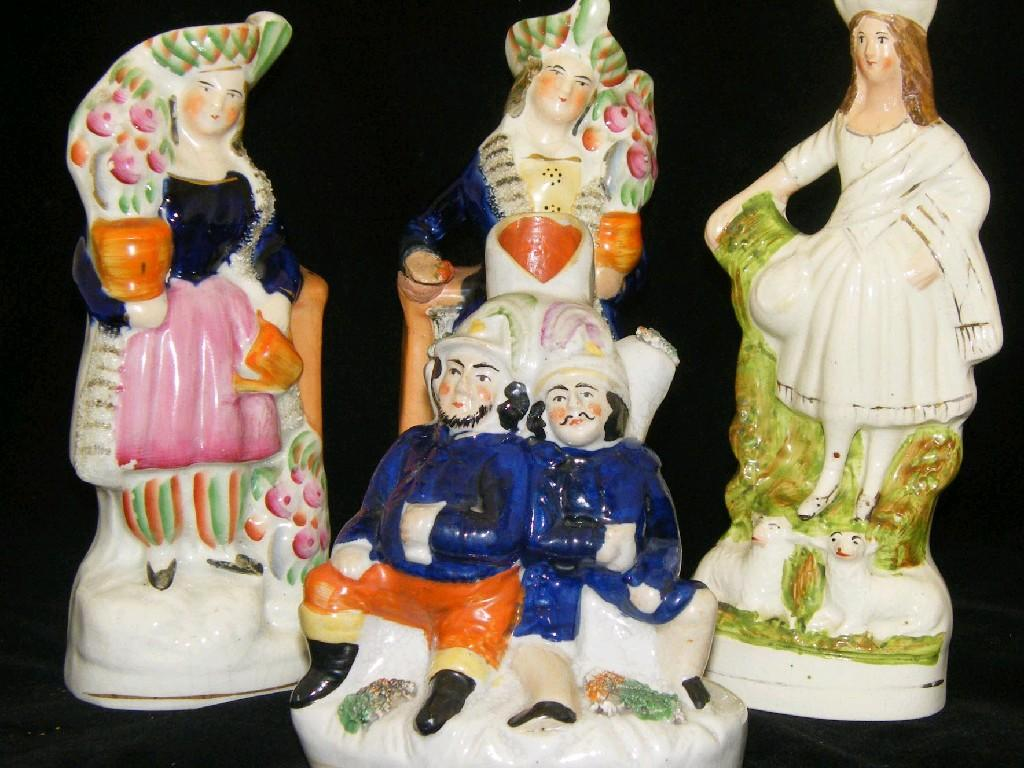 Pair of Victorian Staffordshire figures of