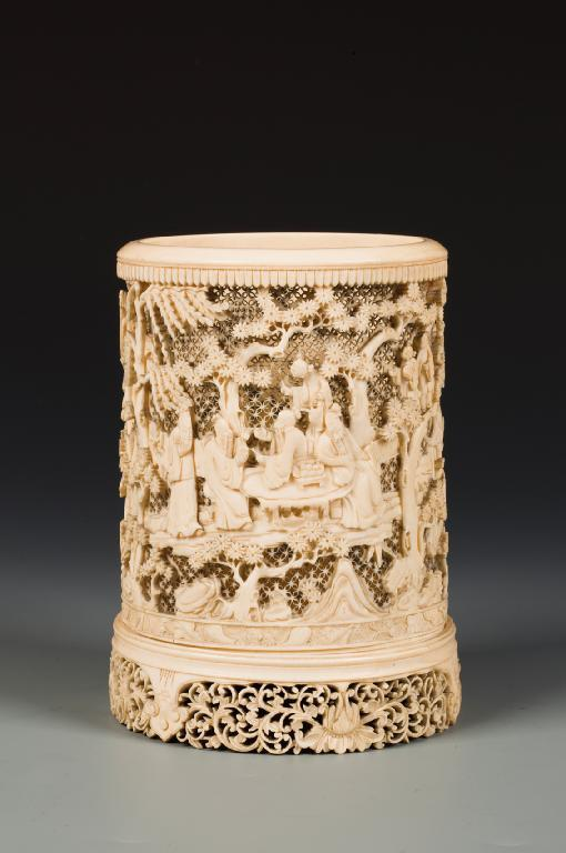 A CHINESE IVORY BRUSHPOT with a reticulated