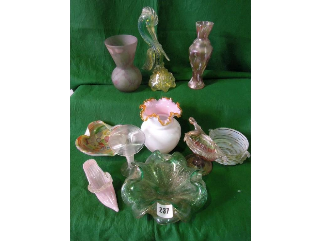 A collection of Venetian and other glassware