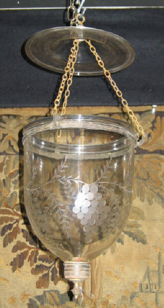 ENGLISH 19TH CENTURY GLASS HALL LANTERN Bell