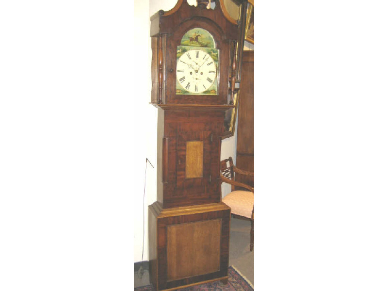ENGLISH OAK AND MAHOGANY TALL CASED CLOCK