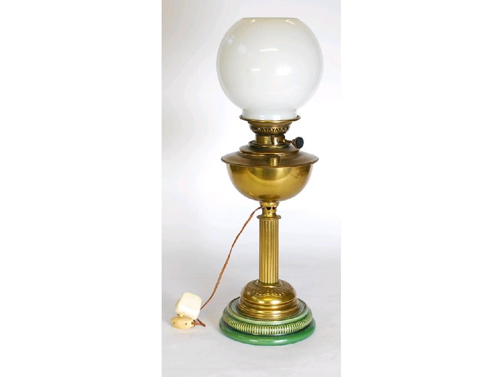 VICTORIAN BRASS OIL TABLE LAMP, with white