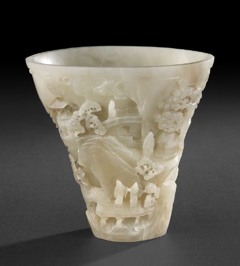 Unusual Chinese Carved White Jade Libation